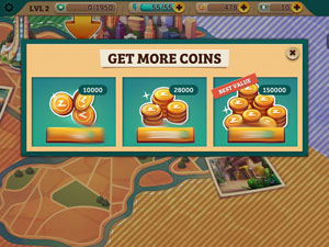 Image of the 'Get more coins' screen