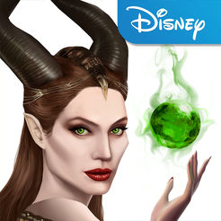 Maleficent Free Fall Logo with Maleficent holding an orb